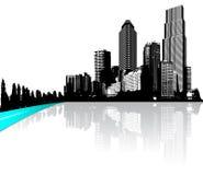 有在水反映的摩天大楼的城市 库存例证