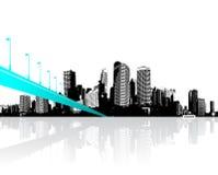 有在水反映的摩天大楼的城市 皇族释放例证