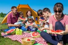 有在绿草的野餐在公园和享用西瓜的愉快的公司室外小组画象  库存图片