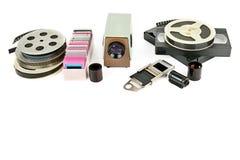 有在w隔绝的幻灯片的老录影带和录影放映机 免版税图库摄影