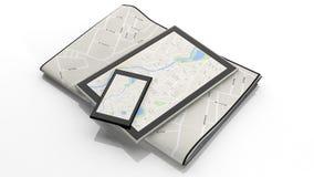 有地图的片剂在屏幕上 免版税图库摄影