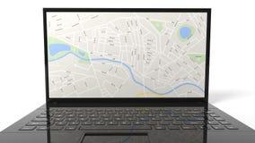 有地图的片剂在屏幕上 库存照片