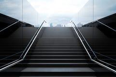 有地平线的空的黑台阶 免版税库存照片