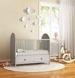 有地毯的米黄和灰色托儿所婴孩室 库存图片
