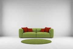 有地毯的绿色沙发 库存例证