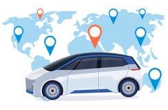 有地点别针在线排序出租汽车汽车分享概念流动运输汽车共用模式服务世界地图的汽车 向量例证