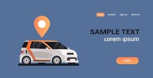 有地点别针在线排序出租汽车汽车分享的geo标记的汽车合伙使用汽车概念流动运输汽车共用模式 库存例证