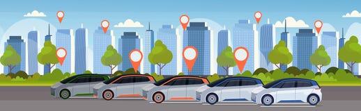 有地点别针的汽车在停放在线排序出租汽车汽车分享概念流动运输汽车共用模式服务 库存例证