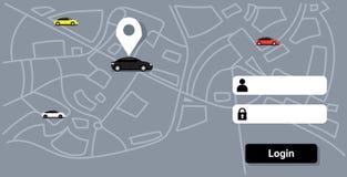 有地点别针的汽车在城市地图在线排序出租汽车汽车分享概念流动应用运输汽车共用模式 向量例证
