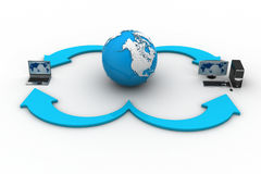 有地球地球的便携式计算机在白色背景 免版税库存图片