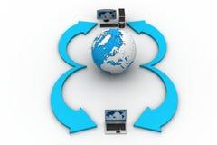 有地球地球的便携式计算机在白色背景 免版税图库摄影