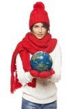 有地球的冬天妇女 免版税库存图片