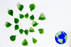 有地球的叶子 库存照片