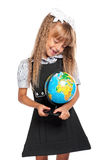 有地球的小女孩 库存照片