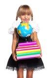 有地球的小女孩 免版税库存图片