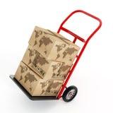 有地球的纸板箱在卡车手台车塑造 3d例证 库存照片