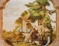 有场面壁画的Jasov -霍尔-拜访亚伯拉罕的三个天使约翰从Premonstratesian的卢卡斯Kracker (1752 - 1776) 免版税库存照片