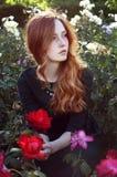 有坐在玫瑰园里的赤褐色头发的少妇 免版税库存照片