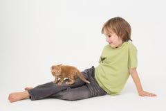 有坐在白色背景的小猫的男孩 免版税库存图片