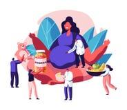 有坐在莲花姿势的大腹部的巨大的孕妇围拢与Giving医生她的维生素,婴孩玩具健康营养 皇族释放例证