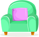 有坐垫的逗人喜爱的绿色沙发 免版税库存照片