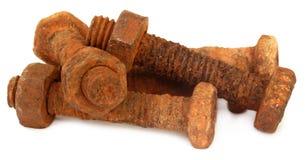 有坚果的生锈的螺栓 免版税库存图片