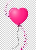 有垂直的波浪的桃红色心形的氦气气球被做听见 皇族释放例证