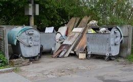 有垃圾容器和无家可归的猫的平台 免版税库存照片