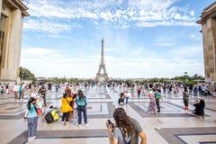 有埃佛尔铁塔的Trocadero地方在巴黎 库存照片