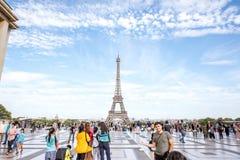 有埃佛尔铁塔的Trocadero地方在巴黎 免版税库存图片