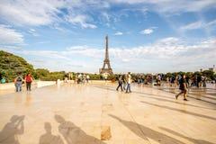 有埃佛尔铁塔的Trocadero地方在巴黎 免版税库存照片