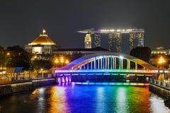 有埃尔金桥梁的新加坡概要 免版税图库摄影