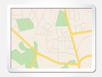 有城市地图的片剂屏幕 库存照片