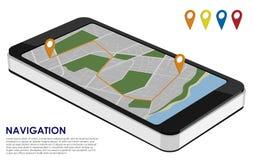有城市地图的等量智能手机与rou的都市航海的 库存照片