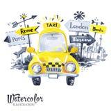 有城市横幅的手画微型出租汽车汽车 免版税库存照片