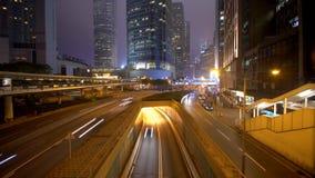 有城市街道和闪烁的大厦的时间间隔录影 影视素材