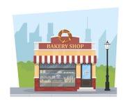 有城市风景和灯笼的大厦面包店 面包店界面 库存图片