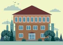 有城市风景的逗人喜爱的图表私有房子 皇族释放例证