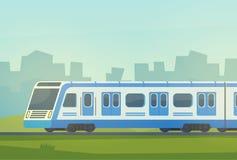有城市风景的Passanger现代电高速列车 背景地球高铁路速度培训运输 内部加速的培训旅行 向量例证