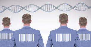 有基因脱氧核糖核酸和条形码的克隆人 免版税库存照片