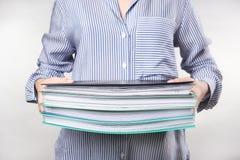 有堆的妇女文件 免版税库存照片