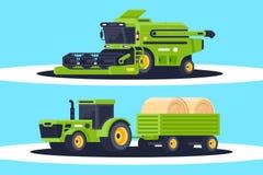 有堆的平的农机收获的,庄稼交付干草 向量例证