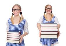 有堆的滑稽的学生书 免版税库存照片