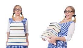 有堆的滑稽的学生书 库存照片