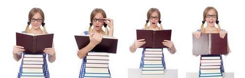 有堆的滑稽的学生书 图库摄影