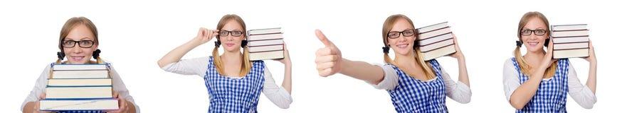 有堆的滑稽的学生书 免版税库存图片