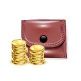 有堆的皮革钱包硬币 免版税库存照片