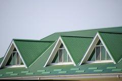 有塑料窗口和一个绿色屋顶的房子波纹状嘘 图库摄影