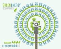 有塔和日光反射装置的,看法圆太阳能发电厂从上面 库存图片