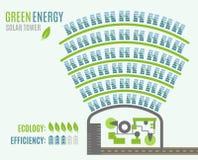有塔和日光反射装置的,看法太阳能发电厂从上面 图库摄影